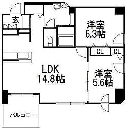 北海道札幌市中央区北五条西16丁目の賃貸マンションの間取り