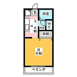 パステル庭瀬 B棟[2階]の間取り