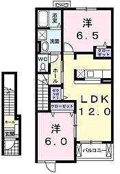東京都青梅市今井1丁目の賃貸アパートの間取り