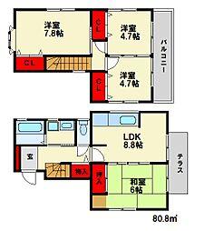 [一戸建] 福岡県大野城市大城3丁目 の賃貸【/】の間取り