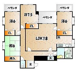 福岡県北九州市八幡西区穴生1丁目の賃貸マンションの間取り