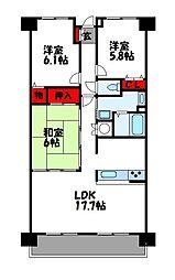 コアマンションルネス空港東[3階]の間取り