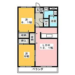 プレステージ中居[1階]の間取り