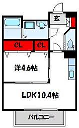 福岡県古賀市美明1丁目の賃貸アパートの間取り