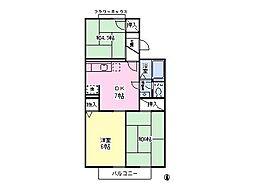 埼玉県さいたま市中央区八王子4丁目の賃貸アパートの間取り