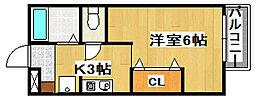 JR山陽本線 東加古川駅 徒歩1分の賃貸アパート 2階1Kの間取り