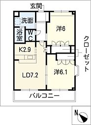 ルミナス田鶴[1階]の間取り