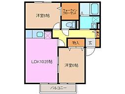 三重県鈴鹿市竹野2丁目の賃貸アパートの間取り