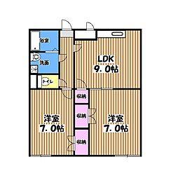 東京都青梅市新町5丁目の賃貸マンションの間取り
