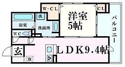 (仮称)西宮市大畑町D-room 3階1LDKの間取り