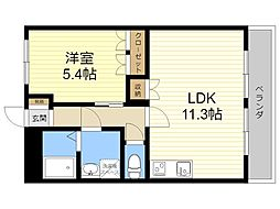 JR日豊本線 隼人駅 徒歩16分の賃貸アパート 2階1LDKの間取り