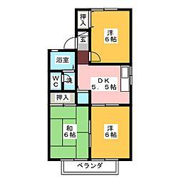 静岡県静岡市清水区楠新田の賃貸アパートの間取り