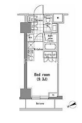 JR山手線 新橋駅 徒歩9分の賃貸マンション 10階ワンルームの間取り