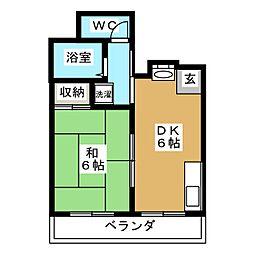 上原マンション[6階]の間取り