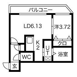 クラークサイドSAPPORO[4階]の間取り