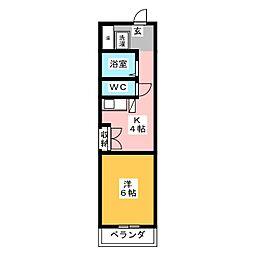 千代田ビルディング 7階1Kの間取り