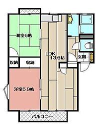 ファミール二島 A棟[201号室]の間取り