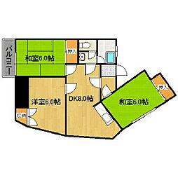 福岡県久留米市中央町の賃貸マンションの間取り
