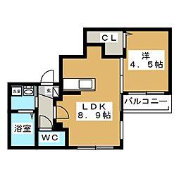 Cala Rossa(カーラロッサ)[3階]の間取り