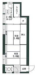 東京都大田区石川町2丁目の賃貸アパートの間取り