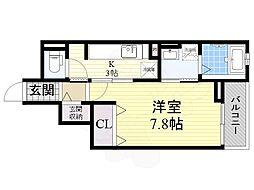 大阪モノレール 南摂津駅 徒歩5分の賃貸マンション 3階1Kの間取り