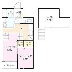 福岡県福岡市西区大字千里の賃貸アパートの間取り