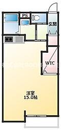 かのんハウス3番館 1階ワンルームの間取り