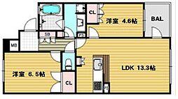 サンクタス梅田イノセント[9階]の間取り