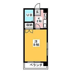 フォンティーヌ内田橋[4階]の間取り