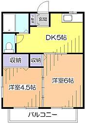 東京都小平市小川東町の賃貸アパートの間取り