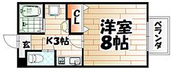 福岡県北九州市八幡東区尾倉1丁目の賃貸アパートの間取り