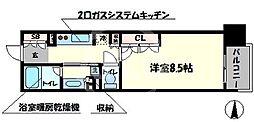 パークアクシス大阪新町 14階1Kの間取り