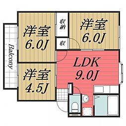 千葉県佐倉市中志津3丁目の賃貸アパートの間取り