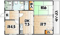 川本ハイツ[3階]の間取り