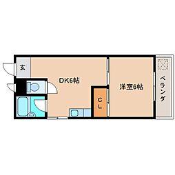 近鉄大阪線 大和高田駅 徒歩5分の賃貸マンション 4階1DKの間取り