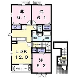 鹿児島県鹿児島市喜入瀬々串町の賃貸アパートの間取り