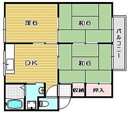 大阪府茨木市沢良宜浜3丁目の賃貸アパートの間取り