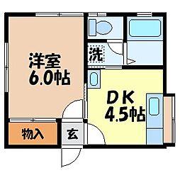 シングルハウス中尾[102号室]の間取り