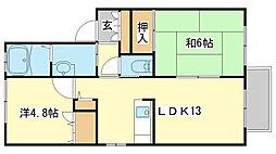兵庫県姫路市広畑区小松町2丁目の賃貸アパートの間取り