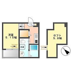 愛知県名古屋市西区大野木3丁目の賃貸アパートの間取り