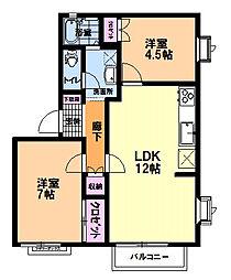 茨城県つくば市松代4丁目の賃貸アパートの間取り