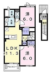 JR福塩線 神辺駅 徒歩19分の賃貸アパート 2階2LDKの間取り