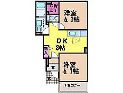 愛媛県松山市市坪南2丁目の賃貸アパートの間取り