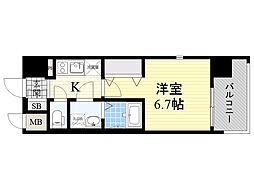 レジュールアッシュ淡路駅前 4階1Kの間取り