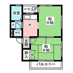 中割マンション[2階]の間取り