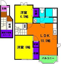 静岡県磐田市東平松の賃貸アパートの間取り