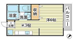 兵庫県たつの市龍野町川原町の賃貸アパートの間取り