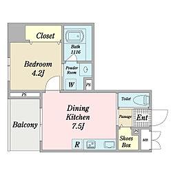 リーフス 6階1DKの間取り