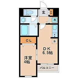 仙台市地下鉄東西線 川内駅 徒歩15分の賃貸マンション 2階1DKの間取り
