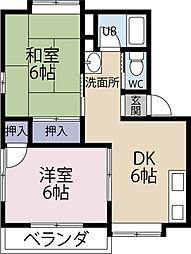 サンビーム仙水A[2階]の間取り